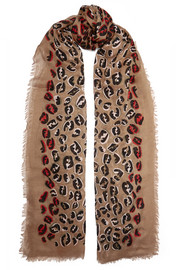 Fendi Fringed leopard-print modal and silk-blend voile scarf