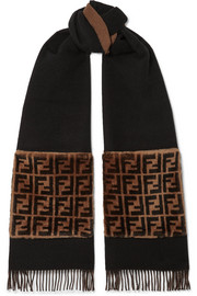 Shearling-trimmed wool and cashmere-blend scarf