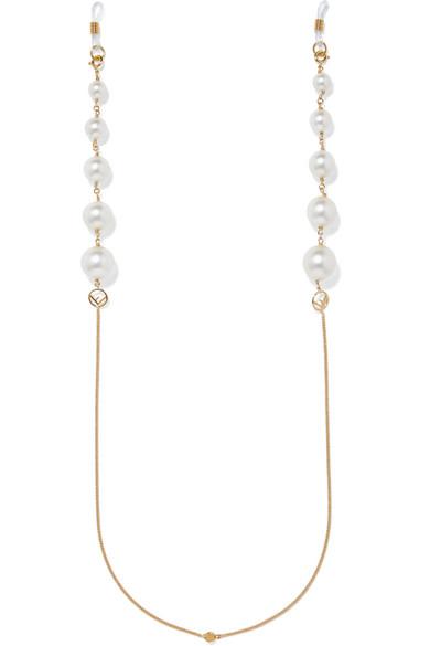 Gold Tone Faux Pearl Sunglasses Chain by Fendi