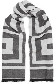 Wool and cashmere-blend jacquard scarf