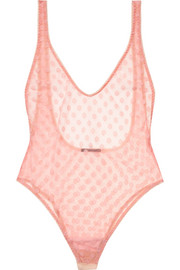 Rosalie polka-dot stretch-tulle bodysuit