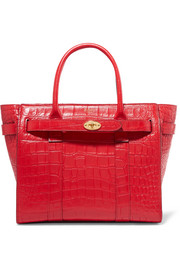 The Bayswater Zipped small croc-effect leather tote