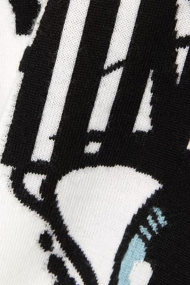 Moschino Wollpullover mit Intarsienmotiv