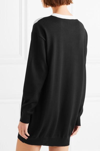 Moschino Mini Dress Wool Inlaid Motif