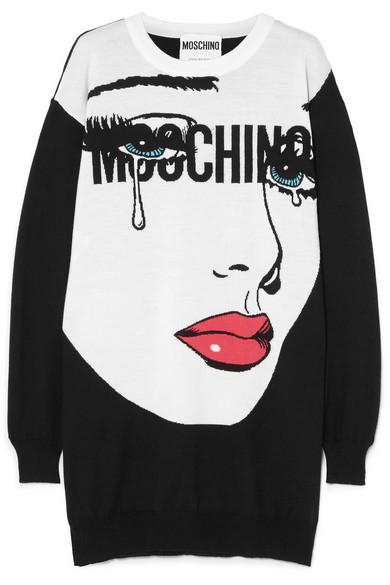 Moschino Minikleid aus Wolle mit Intarsienmotiv