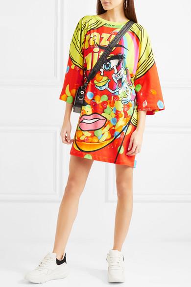 Moschino Bedrucktes Oversized-Minikleid aus Baumwoll-Jersey mit Stretch-Anteil