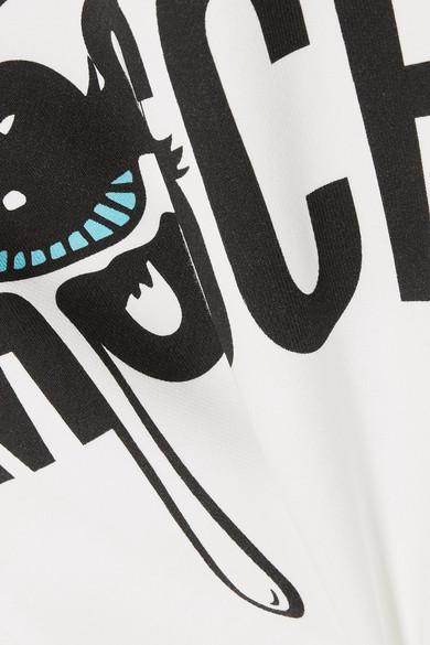 Moschino Verkürztes Kapuzenoberteil aus bedrucktem Stretch-Baumwoll-Jersey