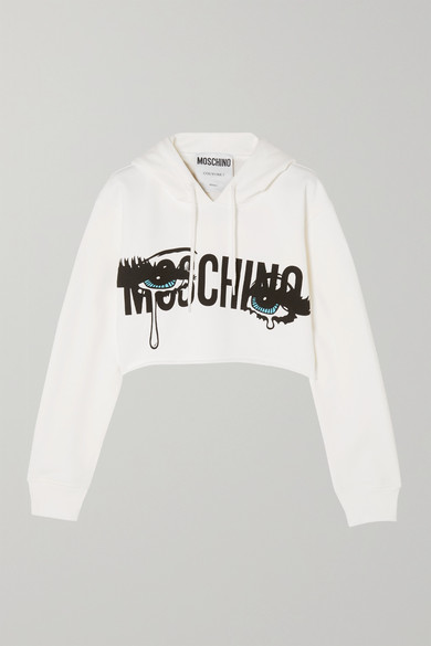 MOSCHINO Cropped Printed Stretch-Cotton Jersey Hooded Top, White