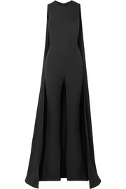 Cape-effect silk-georgette jumpsuit