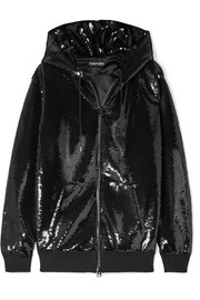 TOM FORD Sequined satin hoodie