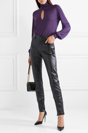 Cutout cashmere and silk-blend turtleneck sweater