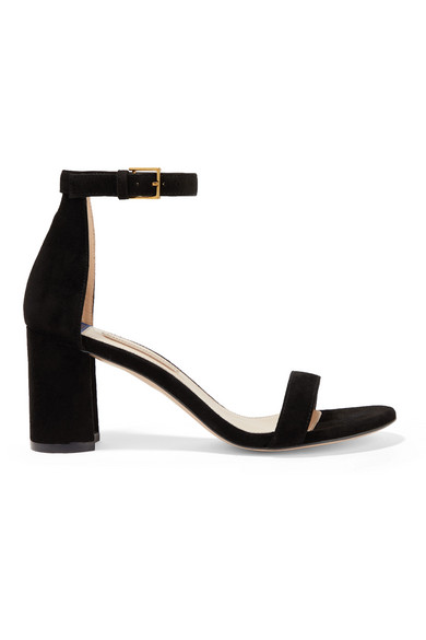 75Lessnudist Suede Block-Heel City Sandals in Black