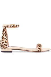 Leather-trimmed leopard-print calf hair sandals
