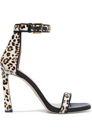 SquareNudist leather-trimmed leopard-print calf hair sandals