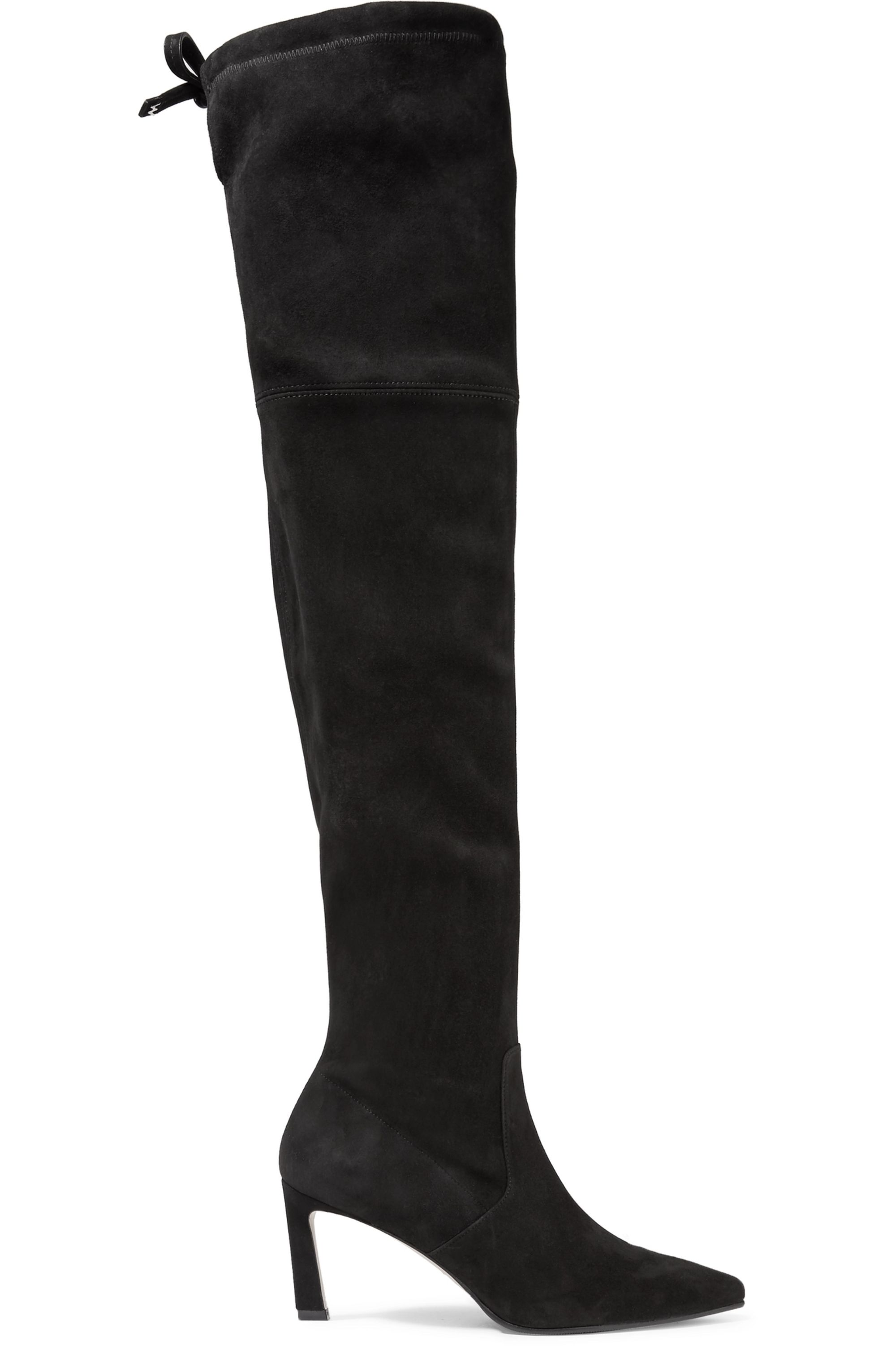 Black Natalia suede over-the-knee boots