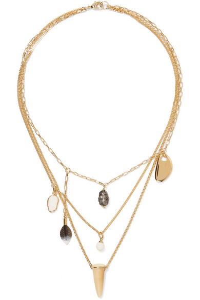 Gold Tone Multi Stone Necklace by Isabel Marant
