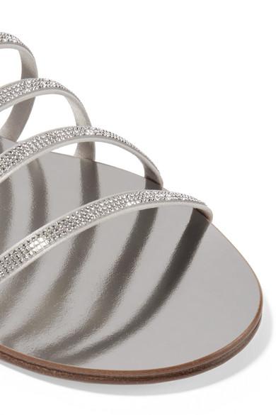 Sarah Swarovski Crystal-embellished Satin And Metallic Leather Sandals - Silver Pedro Garcia IBKeb