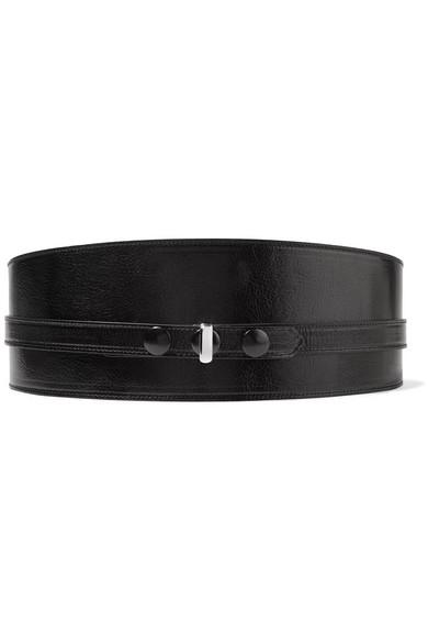ISABEL MARANT Kajy Glossed Textured-Leather Belt in 01Bk Black