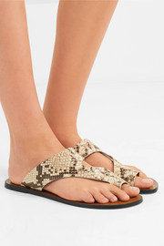 Roma snake-effect leather sandals