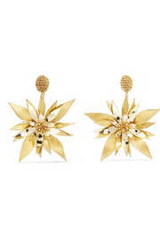Oscar de la Renta Starfish Flower beaded PVC clip earrings