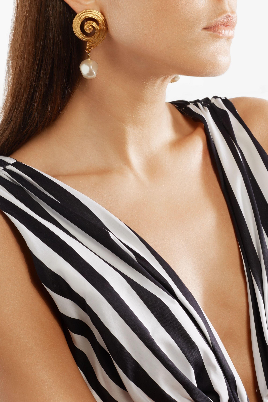 Oscar de la Renta Gold-plated faux pearl clip earrings