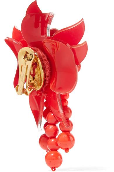 Champ De Fleurs Boucles D'oreilles Clip Acétate De Perles - Rouge Oscar De La Renta o4TInUzT