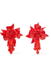 Flower Field beaded acetate clip earrings