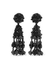 Oscar de la Renta Falling Tassel beaded silk clip earrings