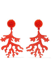 Oscar de la Renta Beaded acetate clip earrings