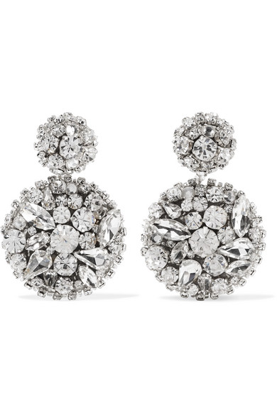 Oscar De La A Silver Tone Swarovski Crystal Clip Earrings