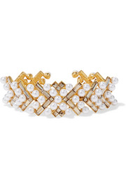 Oscar de la Renta Gold-plated, faux pearl and Swarovski crystal bracelet