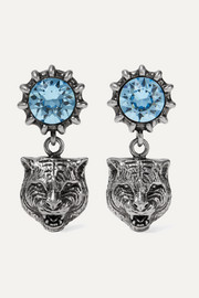 Silver-tone aquamarine earrings