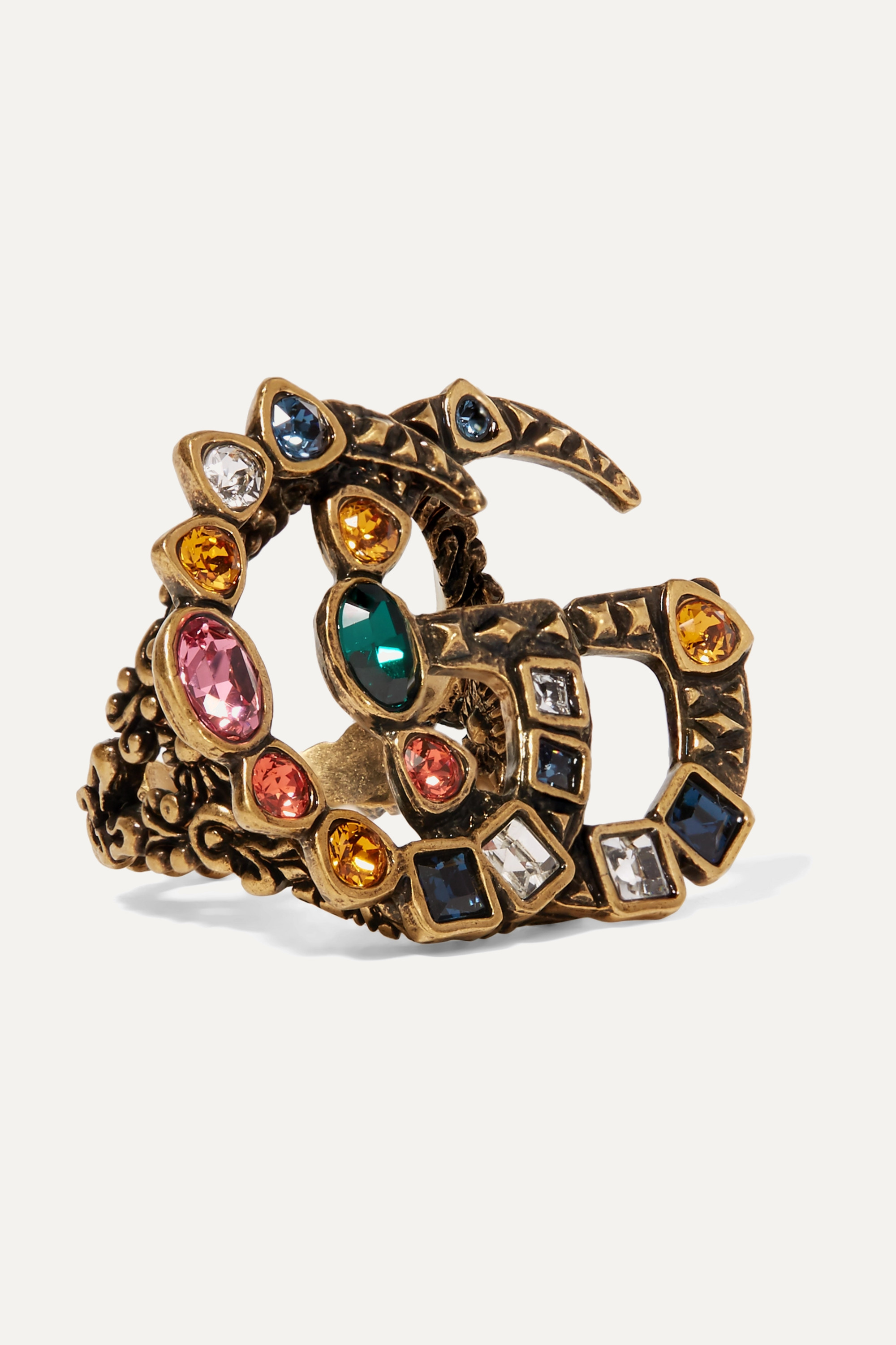 Gucci Gold-tone crystal ring