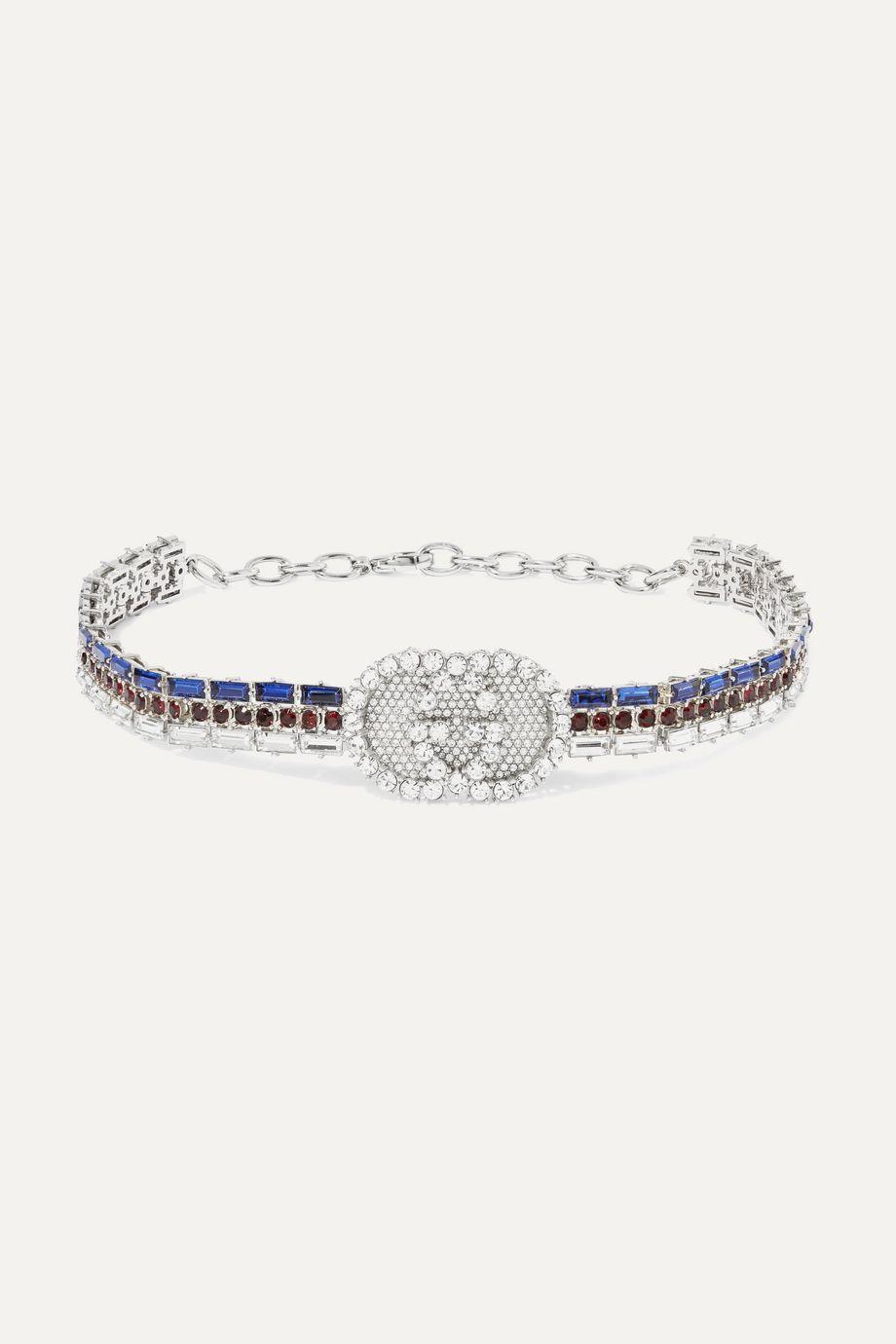 Gucci 水晶镀银项圈式项链