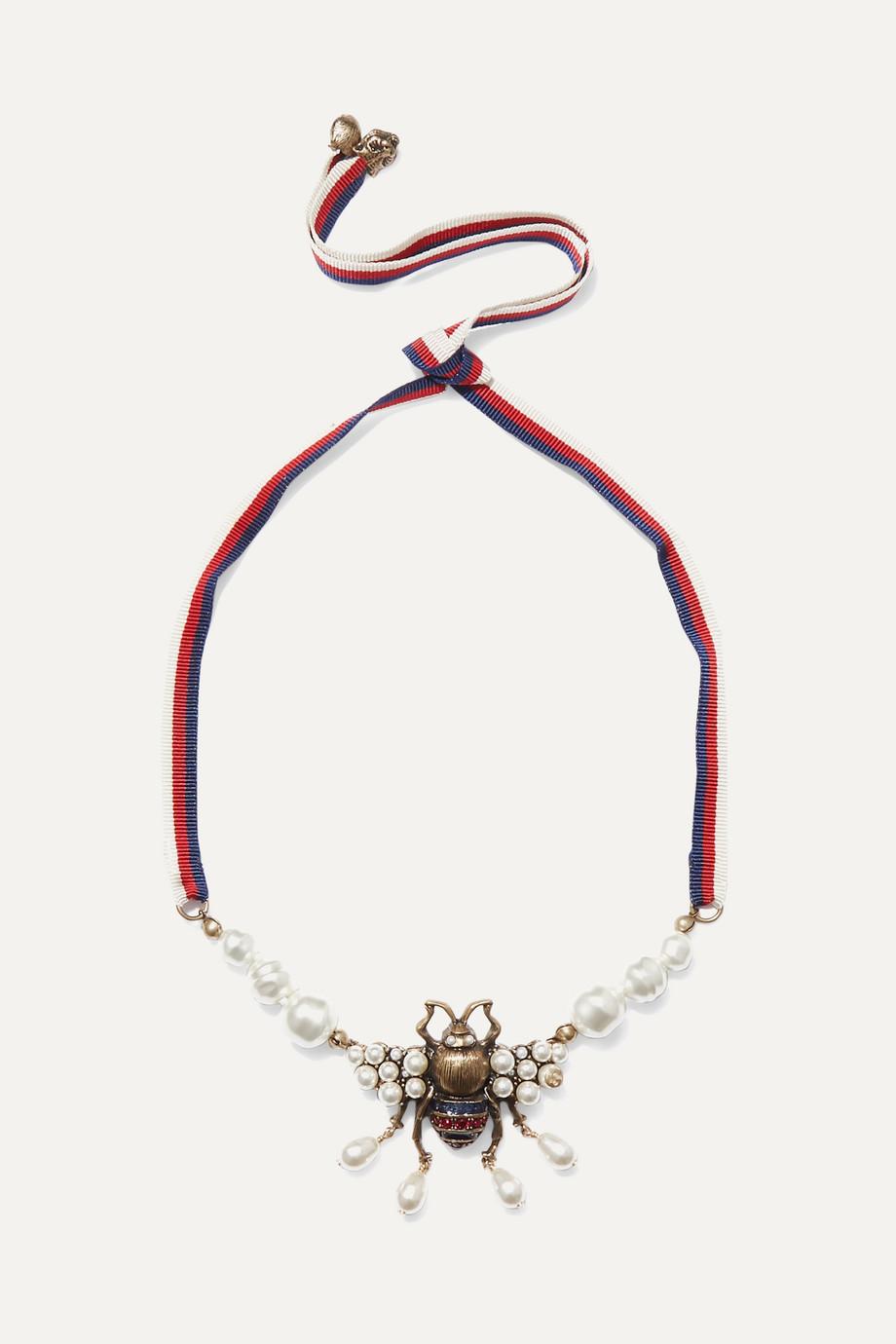 Gucci 水晶人造珍珠金色项链