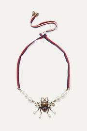 Gucci Gold-tone, crystal and faux pearl necklace