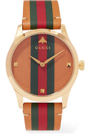 Gucci G-Timeless striped leather and gold-tone watch