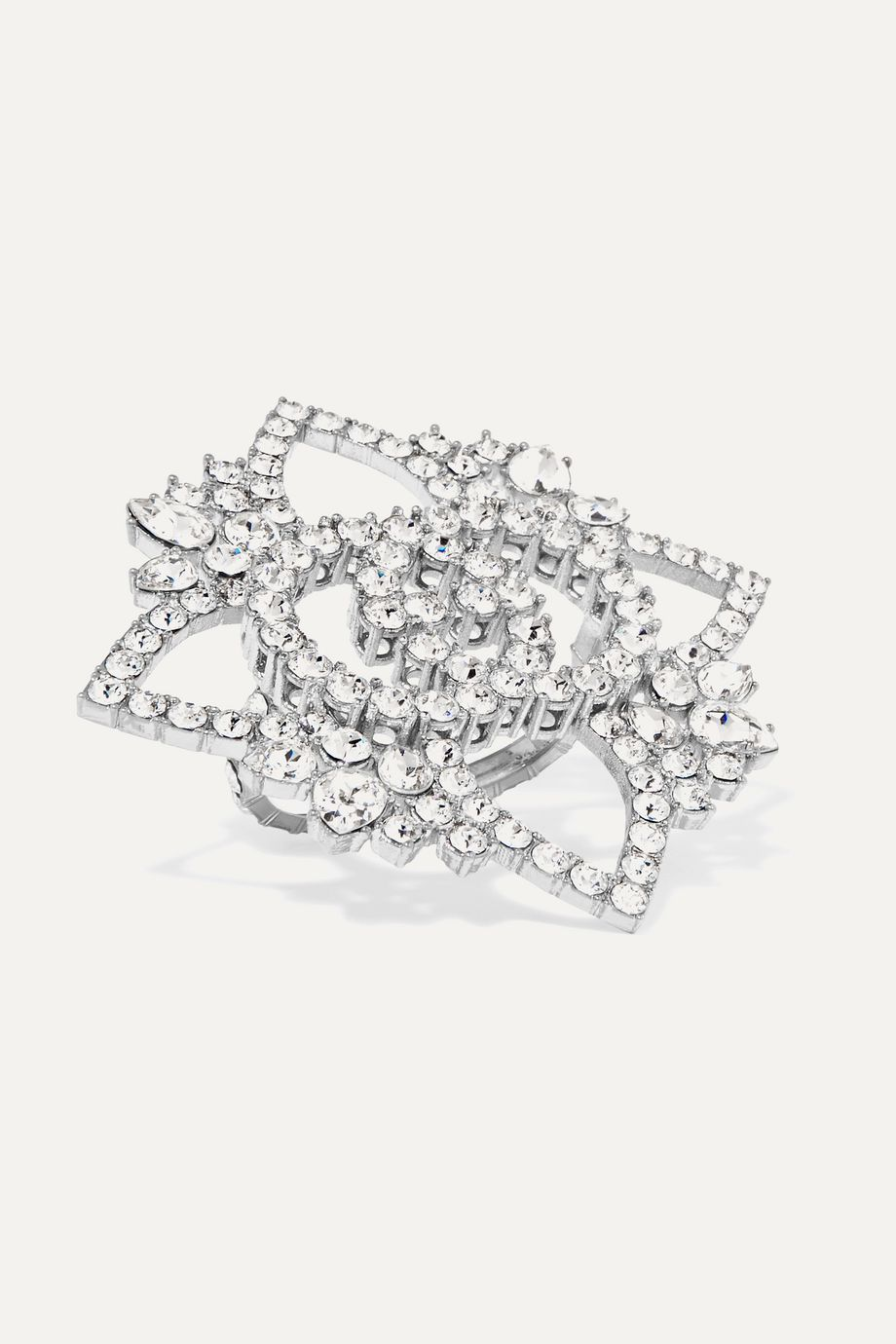 Gucci Silver-plated crystal ring