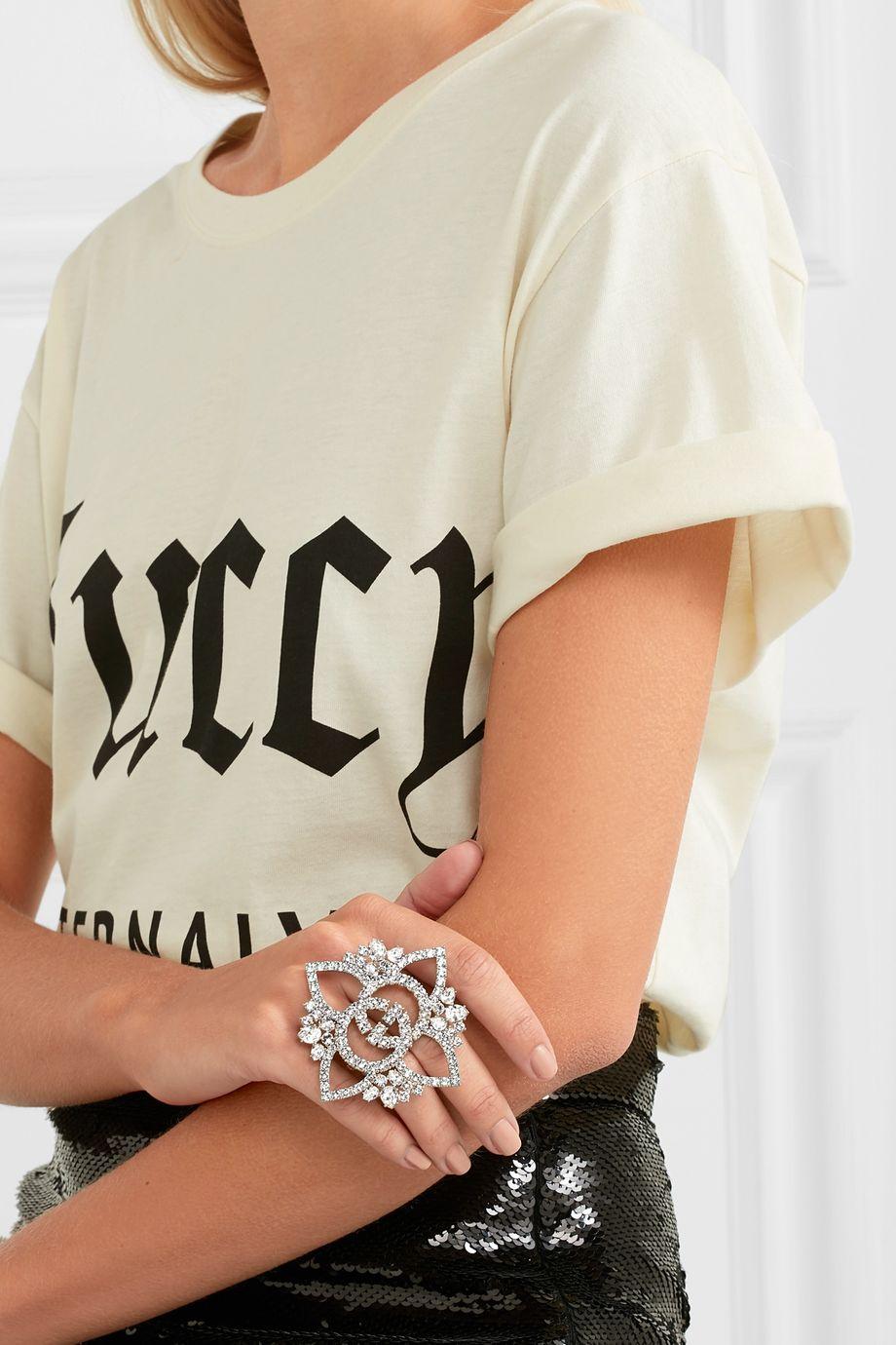 Gucci Versilberter Ring mit Kristallen