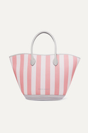 Beacher leather-trimmed striped canvas tote