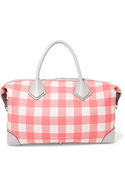 Voyager leather-trimmed gingham canvas weekend bag