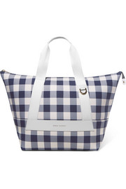 Leather-trimmed gingham canvas weekend bag