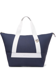 Leather-trimmed canvas weekend bag