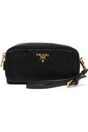 Prada Textured leather-trimmed shell cosmetics case
