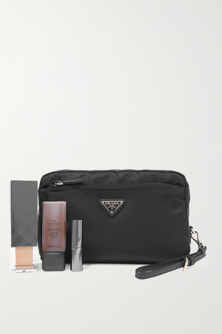 Prada Vela textured leather-trimmed nylon cosmetics case