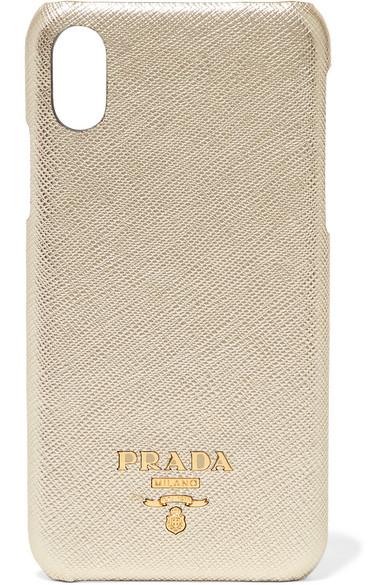 Metallic textured-leather iPhone X case