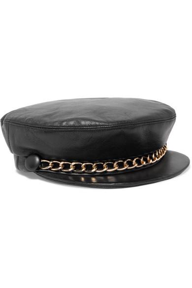 EUGENIA KIM Marina chain-embellished leather cap