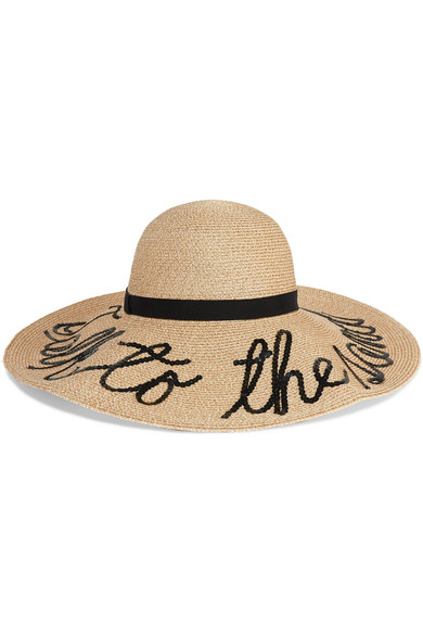Bunny Embroidered Straw Sunhat - Sand Eugenia Kim 92WUNX3