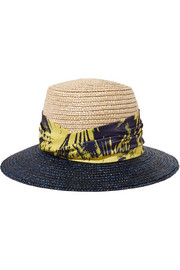 Stevie printed satin-trimmed straw sunhat