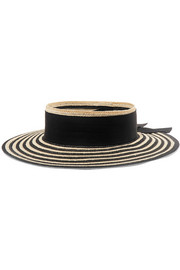 Lettie grosgrain-trimmed striped straw boater